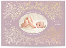 This is a purple foil stamped birth announcement by Nicole Barreto called Botanical with foil-pressed printing on smooth signature in standard.