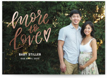 This is a white foil stamped birth announcement by Jen Banks of Ink and Letter called More to Love with foil-pressed printing on smooth signature in standard.