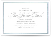 This is a grey foil stamped birth announcement by Toast & Laurel called Scholarly Charm with foil-pressed printing on signature in standard.