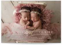 This is a pink foil stamped birth announcement by Emily Betts called Gilded And with foil-pressed printing on recycled in standard.