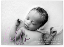 This is a white foil stamped birth announcement by Morgan Kendall called Creative Cursive with foil-pressed printing on smooth signature in standard.