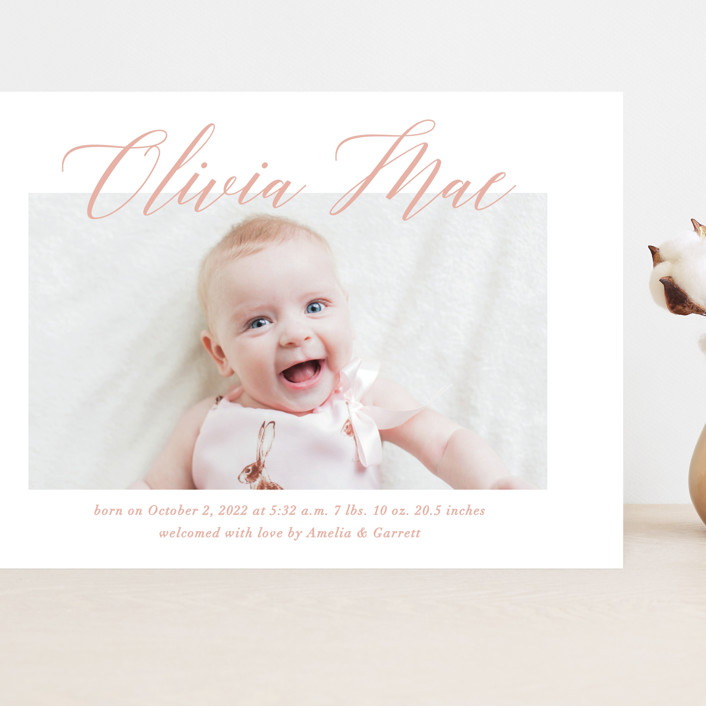 """Sweet Script"" - Grand Birth Announcements in Sweet Pea by Jennifer Postorino."