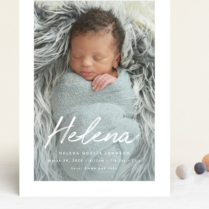 """Helena"" - Modern Grand Birth Announcements in Pearl by Lisa Assenmacher."