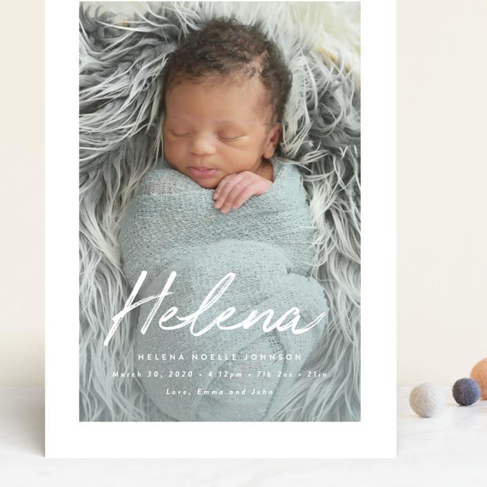 """Helena"" - Modern Grand Birth Announcements in Pearl by Basil Design Studio."