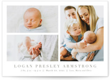 This is a brown grand birth announcement by Toast & Laurel called Menil with classic printing on smooth signature in grand.