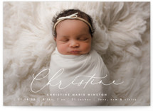 This is a white grand birth announcement by Ekko Studio called Poetry with classic printing on signature in grand.