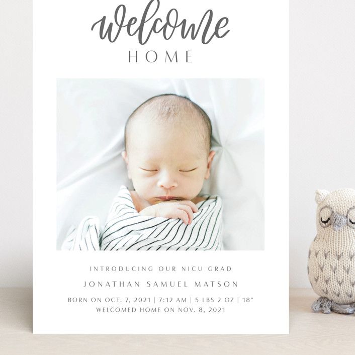 """""""Welcome Home Baby"""" - Modern Grand Birth Announcements in Shadow by Carolyn Kach."""