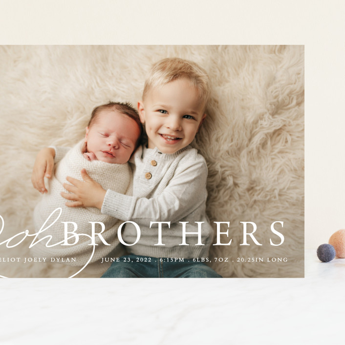 """""""Oh Brother"""" - Funny Grand Birth Announcements in Snow by Bethany Anderson."""