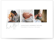 This is a grey grand birth announcement by Robert and Stella called Camera Roll with standard printing on smooth signature in grand.