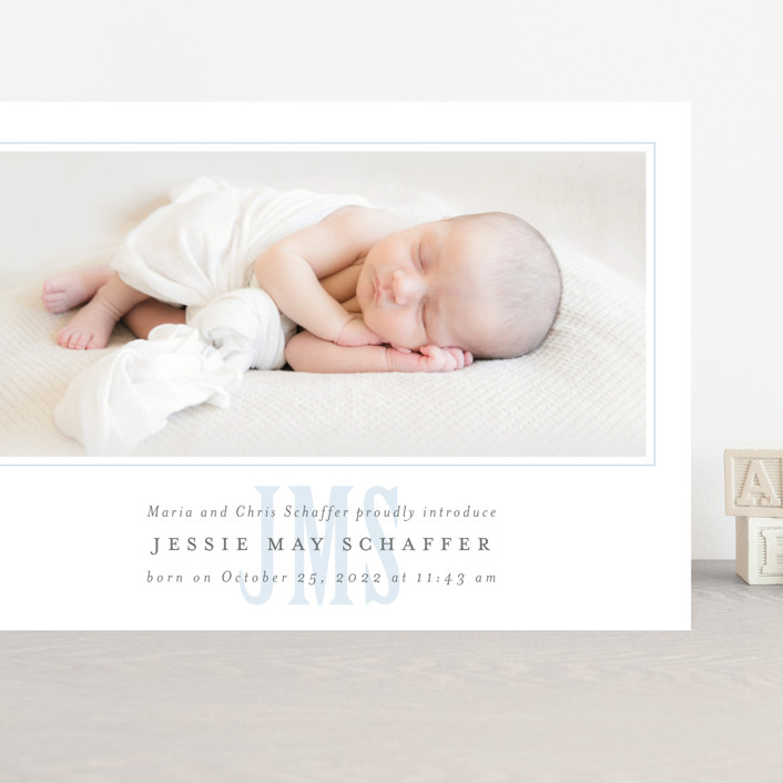 """Classic Monogram"" - Grand Birth Announcements in Sky by Fig and Cotton."