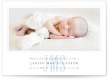 This is a blue grand birth announcement by Fig and Cotton called Classic Monogram with standard printing on smooth signature in grand.