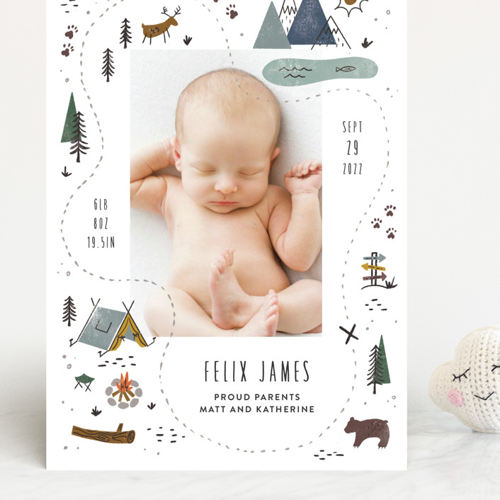 """""""Our Adventure"""" - Whimsical & Funny Grand Birth Announcements in Blue Spruce by Jamie Bartlett."""