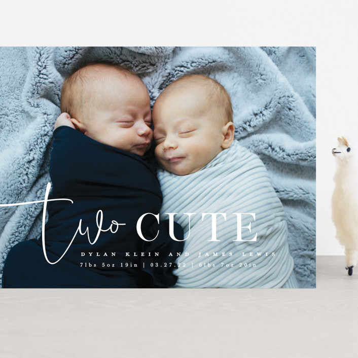 """""""Two Cute"""" - Funny Grand Birth Announcements in Silk by Creo Study."""