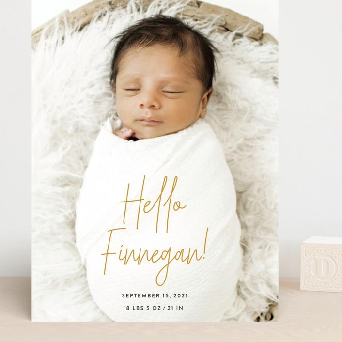 """Hello Everyone"" - Grand Birth Announcements in Mustard by Ashley Rosenbaum."