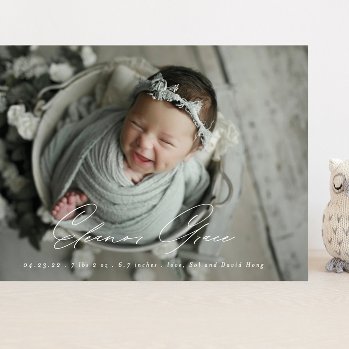 """Our Little Bundle"" - Modern Grand Birth Announcements in Snow by Mansi Verma."