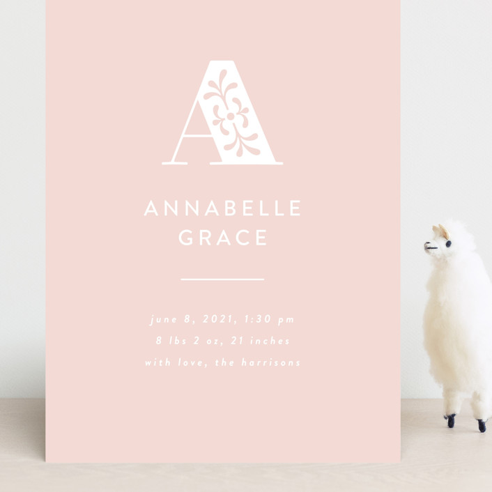 """monogram overlay"" - Preppy Grand Birth Announcements in Blush by Susan Asbill."