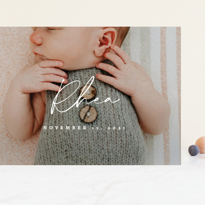 """""""Simplest"""" - Modern Grand Birth Announcements in Petal by Rebecca Daublin."""