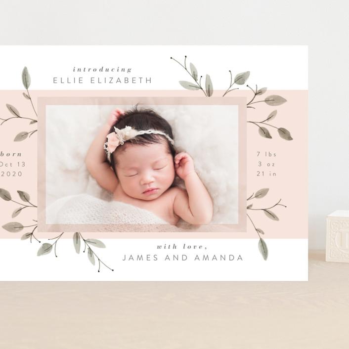 """Petite"" - Grand Birth Announcements in Blush by JeAnna Casper."