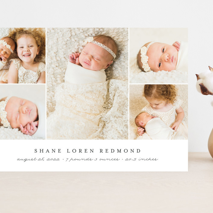 """""""Classically Modern"""" - Grand Birth Announcements in Slate by Brianne Larsen."""