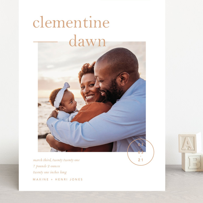 """Clementine"" - Preppy Grand Birth Announcements in Peach by Blustery August."