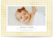 This is a yellow grand birth announcement by Jessie Steury called Gingham with standard printing on signature in grand.