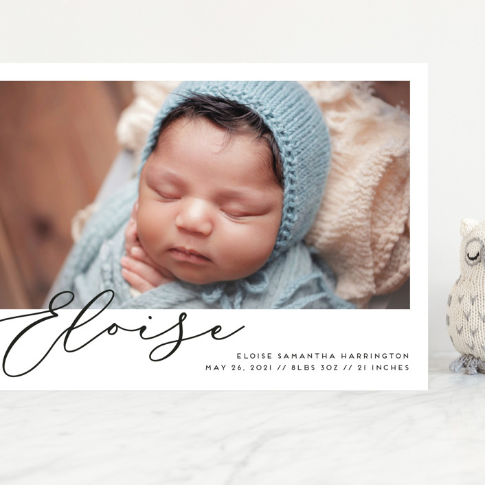"""First-Name Basis"" - Grand Birth Announcements in Onyx by Genna Blackburn."