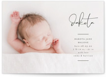 This is a black grand birth announcement by Lehan Veenker called Signed With Love with standard printing on smooth signature in grand.