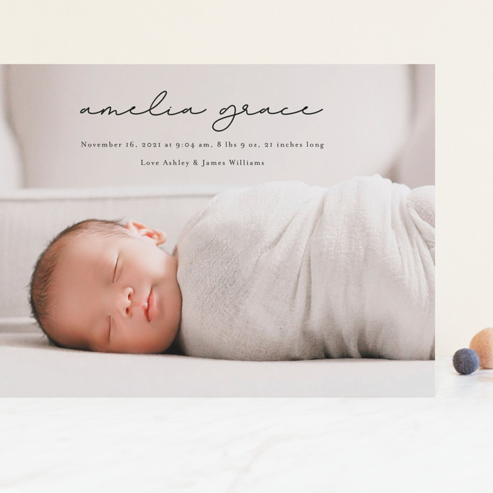 """pure grace"" - Grand Birth Announcements in Onyx by Kasia Labocki."