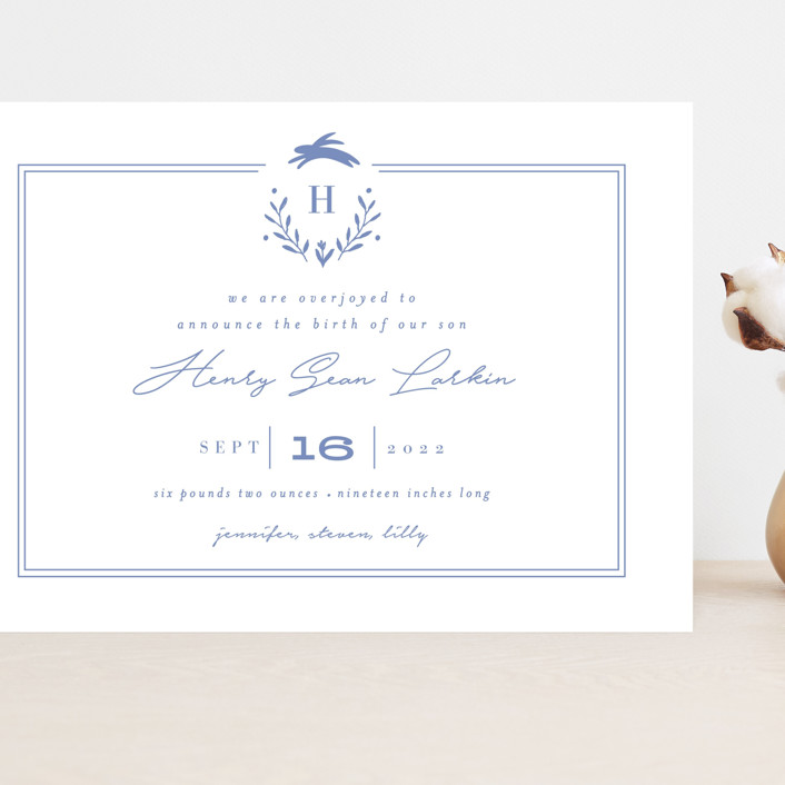 """""""Classic Baby Monogram"""" - Grand Birth Announcements in Cobalt Blue by Susan Brown."""