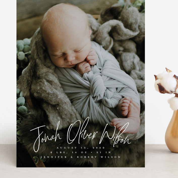 """""""Bundle"""" - Modern Grand Birth Announcements in Cloud by Owl and Toad."""