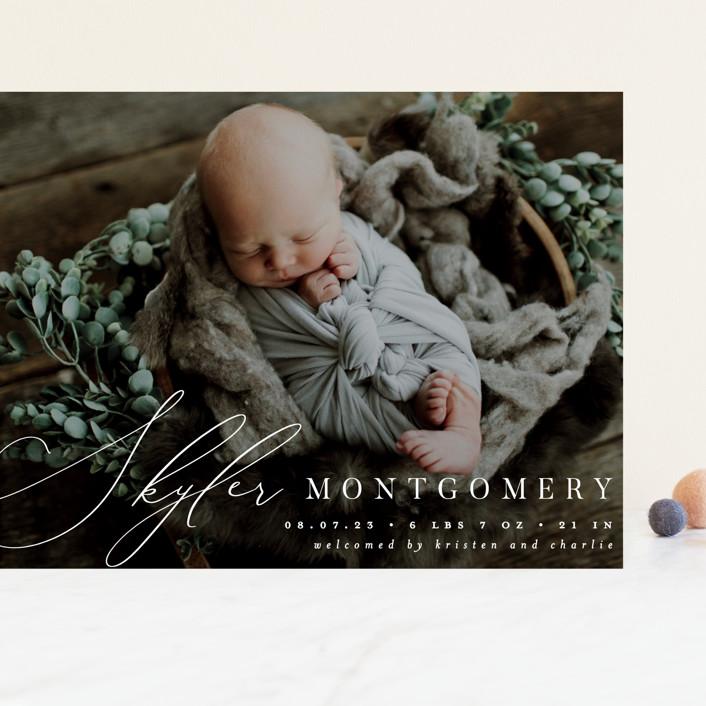 """Signature"" - Grand Birth Announcements in Cream by Everett Paper Goods."