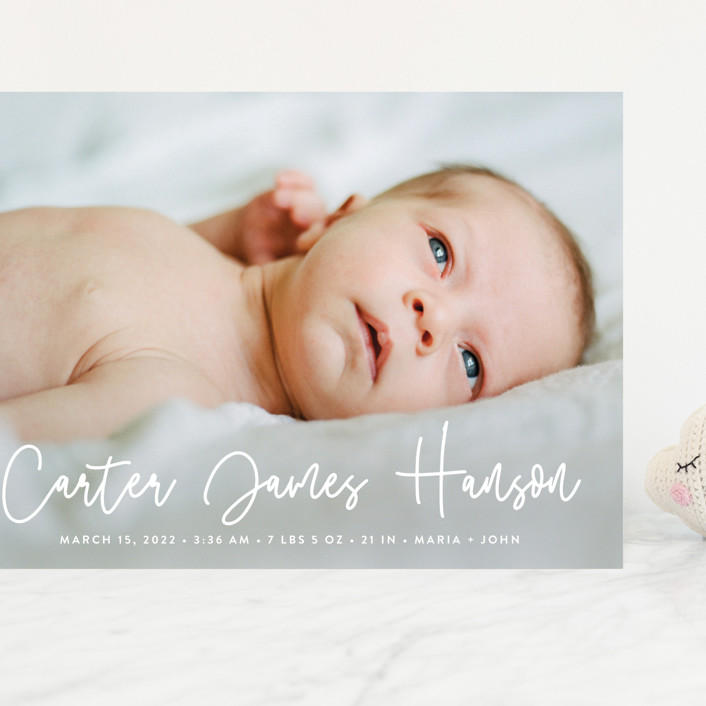 """Cuddle"" - Modern Grand Birth Announcements in Cloud by Susan Asbill."
