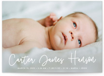 This is a colorful grand birth announcement by Susan Asbill called Cuddle with standard printing on smooth signature in grand.