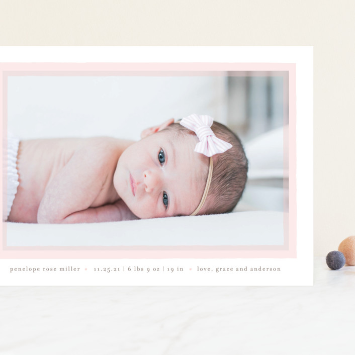 """Cotton Candy"" - Grand Birth Announcements in Blush by Lauren Chism."
