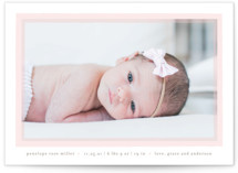 This is a pink grand birth announcement by Lauren Chism called Cotton Candy with standard printing on smooth signature in grand.