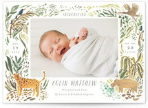 This is a green grand birth announcement by Morgan Ramberg called Jungle Friends with standard printing on smooth signature in grand.