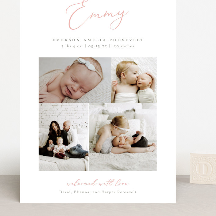 """""""Namely"""" - Grand Birth Announcements in Blush by Sarah Brown."""