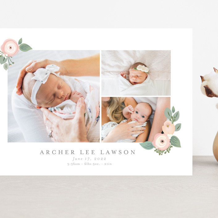 """Garden Flower"" - Grand Birth Announcements in Blush by Itsy Belle Studio."
