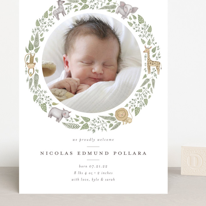 """""""Tiny Safari"""" - Whimsical & Funny Grand Birth Announcements in Prime by Anna Ducos."""