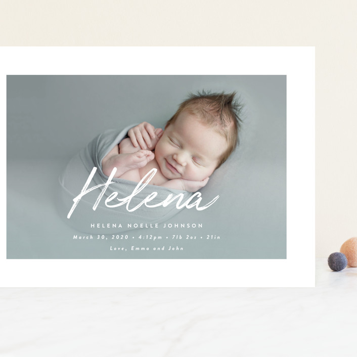 """Helena"" - Modern Grand Birth Announcements in Pearl by Basil Design Studio."
