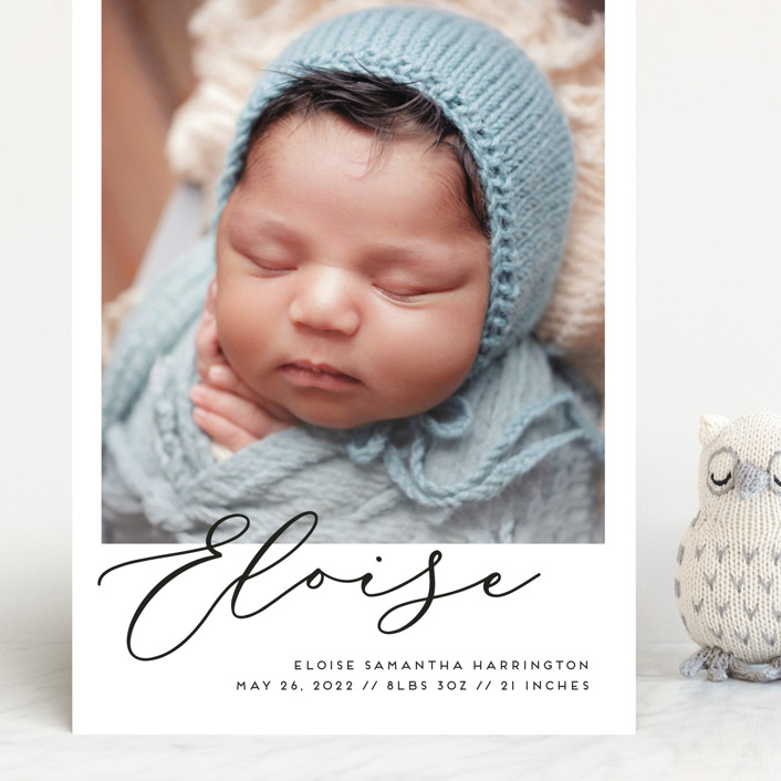 """First-Name Basis"" - Modern Grand Birth Announcements in Onyx by Genna Blackburn."