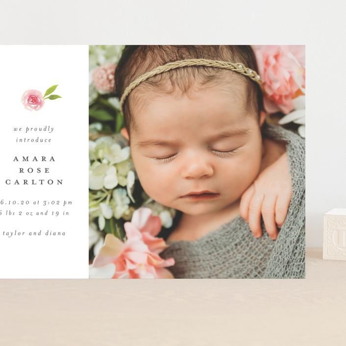 """Little Bloom"" - Grand Birth Announcements in Rose by Ink and Letter."