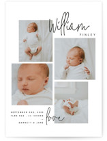 This is a black grand birth announcement by Lindsay Stetson Thompson called overjoyed script with standard printing on smooth signature in grand.