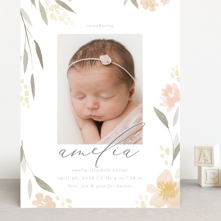 """""""Fresh Florals"""" - Grand Birth Announcements in Blush by Robert and Stella."""