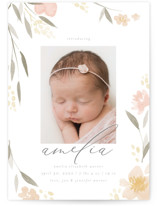 This is a pink grand birth announcement by Robert and Stella called Fresh Florals with standard printing on smooth signature in grand.