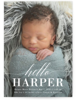This is a white grand birth announcement by Susan Asbill called Little Hello with standard printing on smooth signature in grand.