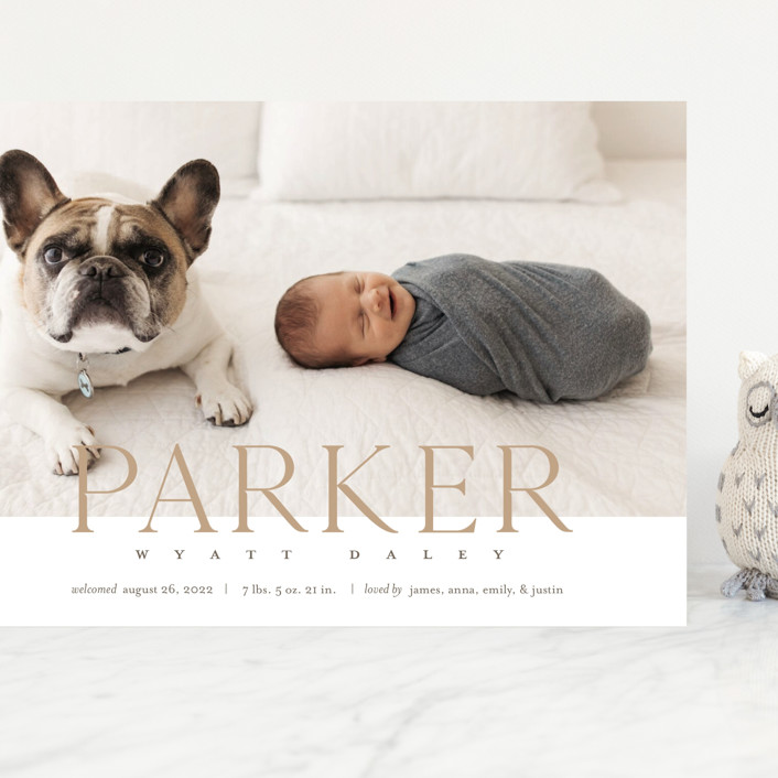 """""""Modern Classic"""" - Modern Grand Birth Announcements in Toffee by Eric Clegg."""