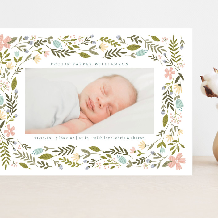 """""""Little Floral Frame"""" - Grand Birth Announcements in Buttercup by Kristen Magee."""