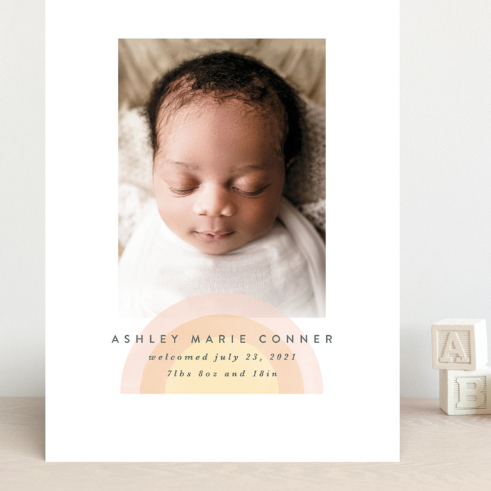 """our rainbow"" - Modern Grand Birth Announcements in Rose by Angela Garrick."