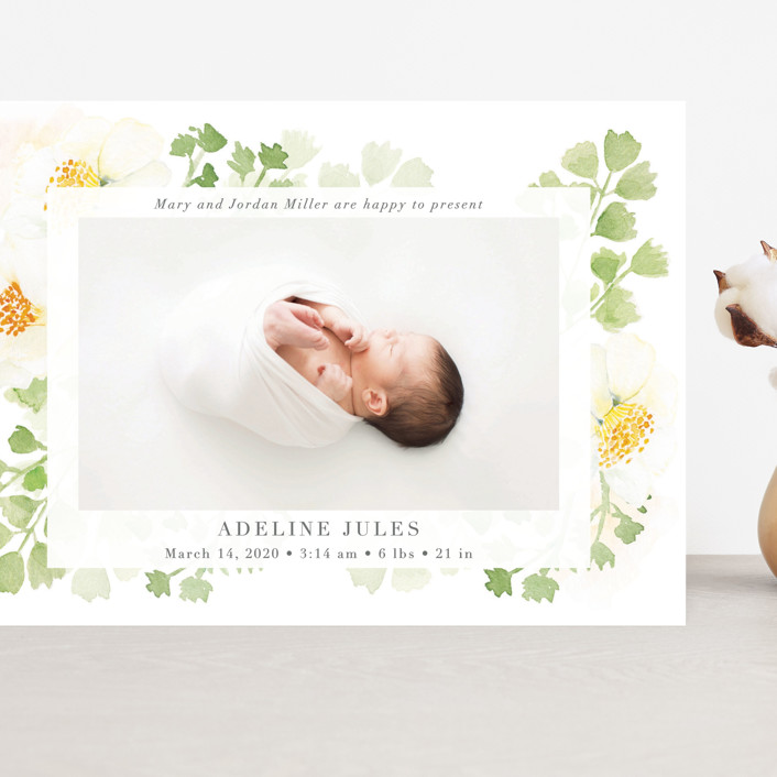 """""""Spring Love"""" - Grand Birth Announcements in Lime by frau brandt."""